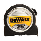 """Stanley Tools - Dwht33385 25 Ft. Tape Measure - Dewalt BRAND 1-1/4"""" WIDE TAPE RULE  Wide blade & large numbers make this tape -  easy to read  13 feet of blade standout for increased reach  Extra large end hook grabs from all 4 sides  Duo-Durometer blade-lock for durability/comfort  3M(R) Thermoplastic film helps to protect blade  Mylar(R) blade coating for long life  Great for framers, deck builders & contractors    DWHT33385 25 FT. TAPE MEASURE  SIZE:1-1/4"""" x 25 Ft."""