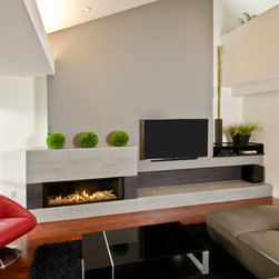 L2 Linear Series Fireplace - 1700I L2 Linear Series with Driftwood & 1 Inch Surround