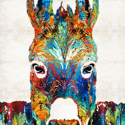 Animals, Fish and Birds - Colorful Donkey Art - Mr. Personality - By Sharon Cummings