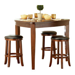 Homelegance - Homelegance Ameillia 5 Piece Triangle Counter Height Table Set - Alive with an exciting Arts & Crafts flair, the contemporarty style of Ameillia Collection uses smooth medium brown finish and clean line design to create an inviting atmosphere to enhance your dining experience. The contemporary design appeals to the sense with its subtle attention to details. The birch veneered table features oval shape top with butterfly leaf supported by masive shaker leg. Counter height stool features easy to clean dark brown bi-case vinyl.