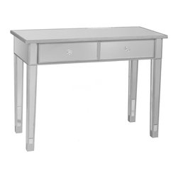 Holly & Martin - Holly & Martin Montrose Mirrored 2-Drawer Con - Painted silver wood trim. Mirrored finish. 39.5 in. W x 17.75 in. D x 28.5 in. H (60.95 lbs.)Perfect for any room, this glamorous mirrored console table is a perfect compliment for your home. With its mirrored finish, it adapts to any surroundings without overpowering yet, catches your eye with its unique presence. The practical size and function works as well in the living room as it does in the bedroom. Finishing the piece off are two drawers with faux crystal knobs.