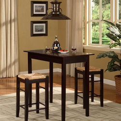 Linon - 3 Pc Counter Dining Set in Espresso Finish - A versatile, attractive set equally at home in residential or commercial settings. Slightly tapered legs give all pieces subtle style and accent. Two backless stools have staggered leg braces for bold horizontal lines. Warm Espresso finish on each piece adds to striking appearance. Exotic Rice Rush fabric has unique feel and comfortable qualities. Includes rectangular table and 2 backless counter stools. Stools tuck neatly under the table when not in use. Space saving design and convenience. Made from veneers, solid woods, MDF and Rice rush. Assembly required. Stool: 13.7 in. W x 13.7 in. D x 24 in. H. Table: 42 in. W x 22.25 in. D x 36 in. HTavern 3-Piece Counter Set with space saving convenience. This set features a simple rectangular table on long sturdy legs with two backless counter height stools with rush seats. Made from solid woods and MDF, and topped off with a rich Espresso finish. Stools tuck neatly under the table when not in use.