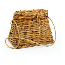 """Origin Crafts - Cottage rattan fishing creel basket - Cottage Rattan Fishing Creel Basket Dimensions (in):16.5""""L x 10.5""""W x 12""""H, 24"""" strap By Mainly Baskets - Mainly Baskets is a wholesale importer of basket accessories. The line consists of hand woven, high quality, traditional styled wicker, rattan, and other materials. Usually ships within five"""