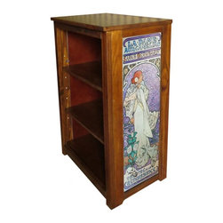 Kelseys Collection - Book cabinet 3 shelf la dame aux camelias Mucha vers 2 - Book cabinet in solid pine features three adjustable storage shelves with two giclee prints on the side panels, showcasing Alphonse Mucha artwork. The giclee print have three coats of UV inhibitor.  Dimensions are 33BY22BY12 Net weight 20 pounds. Three adjustable shelves. Estimated assembly time 20 minutes.