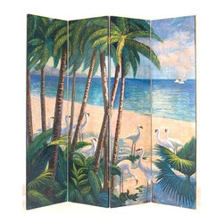Wayborn - Island Tropic Beach Themed 4 Panel Room Divid - 4 Panels. Beach theme. Hand painted directly on wood panel. Cedar plywood frame. Brush strokes and light crackle finish. 64 in. W x 72 in. H (45 lbs.)Hand painted screens start with a cedar plywood frame covered in a cheesecloth material. Then layer after layer of plaster is applied; each layer must dry before another layer can be applied. After all the plaster has been applied several coats of lacquer is put over the entire surface. At that time the artist begins to sketch out the painting directly on the panels of the screen and begins painting the design with water based paint. Each one of these screens has its own characteristics and is truly a work of art.