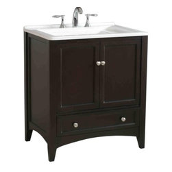 Stufurhome - Expresso Laundry Single Sink Bathroom Vanity - This All-in-One Laundry Single Sink Vanity, draped in dark expresso polish, is a masterful combination of simplicity, functionality and charm. The deep rectangular sink, spacious storage and drawers definitely fulfill the needs of modern day living. The contrasting bright white of the sink and the dark expresso finish of the cabinet make this vanity an attention grabber and add a scent of gracefulness to your laundry room.