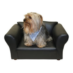 Fantasy Furniture Mini Sofa Leatherette Pet Bed - With the Fantasy Furniture Mini Sofa Leatherette Pet Bed, your pup will be in the lap of luxury. This sofa-shaped pet bed is pretty darn cute. Well-crafted, too, its frame is hand-made of solid wood, it features a comfortable, high-density foam, and is upholstered in a handsome leatherette in your choice of color. This mini sofa is designed for breeds up to 15 pounds.About Fantasy FurnitureFantasy Furniture has been dreaming up high-quality, family-friendly products since 1999. This company is based in San Diego, California. They're dedicated to bringing fun and beauty into the family home. Fantasy Furniture specializes in creating well-crafted and beautifully-designed furniture that's loaded with personality. Furniture for your pets, your kids, and you!