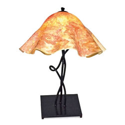 Mathews & Company - Mystic Isle Table Lamp with Large Glass Shade - Our Modern style Mystic Isle Table Lamp with Large Glass Shade is a beautiful piece of hand-crafted home furniture. Lamp is UL Approved and pre-wired, all you have to do is add a light bulb and plug it in to start enjoying its warm light. Pictured in Garden Blush shade and Black finish.