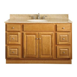 "SUNCO - Vanity 2 Door, 4 Drawer 48""X21"" Oak - 48""W X 21""D X 32-1/2""H Oak Vanity. Ready-to-assemble. 2 door, 4 drawer. Solid wood frame. Plywood side and back panels. Raised square panel doors and drawers. Brushed nickel knobs included. Knobs require installation. Standard overlay 2 way adjustable hinges. KCMA certified."