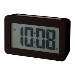 IDEA International - Solar Power Digital Clock - Black - An alarm clock that has a solar panel on the top. The light turns on automatically when it gets dark.