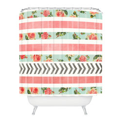 DENY Designs - Allyson Johnson Floral Stripes And Arrows Shower Curtain - Who says bathrooms can't be fun? To get the most bang for your buck, start with an artistic, inventive shower curtain. We've got endless options that will really make your bathroom pop. Heck, your guests may start spending a little extra time in there because of it!