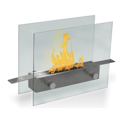 Anywhere Fireplaces - Anywhere Fireplace Metropolitan, Table-Top - This new super chic, Anywhere Fireplace Metropolitan model brings the ambiance of fire to small spaces. Its sleek tempered glass front and back and stainless steel fuel burner can be put on any steady surface   a table top, a stand, the floor or inside non-functioning fireplace to finally allow you to see the beautiful dancing flames of a fire where you previously could not. Its clear glass design allows you to view the dancing flames from any angle so you can put it virtually anywhere in a room be able to enjoy the ambiance created by the real fire. It uses liquid bio-ethanol fuel and gives of no smoke, soot, ash or ash. No installation, electric or gas connection needed. Its relatively small size makes it suitable for placement in a large number of places and it is very easy to move from one place to another. Never attempt to move the fireplace while lit, hot, or filled with fuel. NEVER SUBSTITUTE ANY OTHER FUEL IN PLACE OF LIQUID FUEL FOR VENTLESS FIREPLACES. ALWAYS READ ALL INSTRUCTIONS ON YOUR FIREPLACE AND THE FUEL BOTTLE