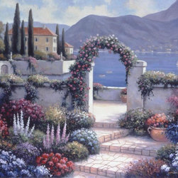 Murals Your Way - Mediterrenean Scene A Wall Art - From a flower filled terrace where pink blooms cover a stone arch, the view of the deep blue Mediterranean is spectacular