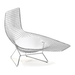 Knoll - Knoll | Bertoia Asymmetric Chaise with Seat Cushion, Outdoor - Design by Harry Bertoia, 1952.