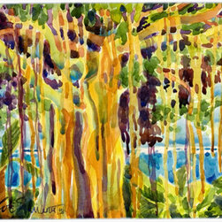 Caroline's Treasures - Tree - Banyan Tree Glass Cutting Board Large Size - Large Cutting Board .. . Made of tempered glass, these unique cutting boards are some of your favorite artists prints. 15 inches high and 12 inches long, they will beautify and protect your counter top. Heat resistant, non skid feet, and virtually unbreakable!