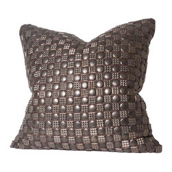 Studio A - Gallagher Pillow - Antique bronze metal beads embroidered onto cotton shell. One-sided detail.