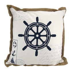 Zeckos - Nautical Ships Wheel Print Canvas Throw Pillow 16 Inch - This 16 inch nautical throw pillow adds a wonderful accent inside your home. The front of the pillow features a ship's wheel, in navy blue, with nautical themed writing and postmarks in the background. A tan burlap edge contrasts nicely with the white pillow. It is made of 100% polyester, from the cover to the soft stuffing, and is proudly made in the USA. This pillow is perfect on chairs, couches, and beds in your home.