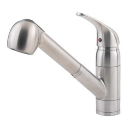 Price Pfister - Price Pfister 133-10SS Pfirst Single Lever Handle Kitchen Faucet with Pull Out S - Price Pfister 133-10SS Pfirst Single Lever Handle Kitchen Faucet with Pull Out Spray in Stainless SteelThe Pfirst Series includes a full-line-up of faucets for kitchen, laundry, Bathroom and tub/shower. Even as an opening price point family collection, all of these faucets are covered by the Price Pfister Lifetime Warranty. Superior design and great value, that's what Pfirst Series is all about. Price Pfister 133-10SS Pfirst Single Lever Handle Kitchen Faucet with Pull Out Spray in Stainless Steel, Features:• Single Control Ceramic Disc Valve