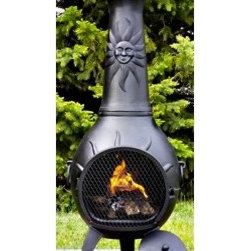 Blue Rooster Sun Stack Chiminea - The Blue Rooster Sun Stack Chiminea will literally make every day a sunny and bright one in your favorite outdoor area. -Mantels Direct