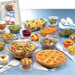 Anchor Hocking - Anchor 50-piece Hocking Expressions Deluxe Set - Anchor Hocking presents this diverse bakeware for many uses in the kitchen. This 50-piece set offers many possibilities for baking and serving, and can be used to bake items of various depths and sizes, as well as for serving food on party tables.