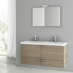 ACF - 47 Inch Larch Canapa Bathroom Vanity Set - Set Includes:. Vanity Cabinet (2 Doors,2 Drawers). High-end fitted ceramic sink. Wall mounted vanity mirror. Vanity Set Features . Vanity cabinet made of engineered wood. Cabinet features waterproof panels. Vanity cabinet in larch canapa finish. Cabinet features 2 doors, 2 soft-closing drawers. Faucet not included. Perfect for modern bathrooms. Made and designed in Italy. Includes manufacturer 5 year warranty.