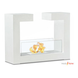 Moda Flame - Moda Flame Beja Free Standing Floor Indoor Outdoor Ethanol Fireplace in White - Beja modern fireplace has a distinctive contemporary look as a fun geometric shape that is sure to impress. constructed from highest grade of steel, powder coated, includes tempered glass on either side to act as a barrier from the real flame of the fire.��_