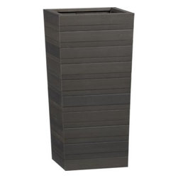"""Tidore Tall 24"""" Planter - Clean taper shapes in graduated slats have the look of wood with the easy-care of plastic, making them a natural for outdoor use. Grey wash finish adds to the organic look."""