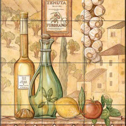 The Tile Mural Store (USA) - Tile Mural - Tuscany Iv  - Kitchen Backsplash Ideas - This beautiful artwork by Charlene Audrey has been digitally reproduced for tiles and depicts a nice Italian olive oil scene.  Our decorative tiles with wine are perfect to use for your kitchen backsplash tile project. A wine tile mural adds elegance and interest to your kitchen wall tile area and makes a wonderful kitchen backsplash idea. Pictures of wine on tiles and images of wines bottles on tiles and wine glasses on tiles is timeless and these decorative tiles of wine blend with any decor. Your kitchen will come to life with a tile mural featuring wine.