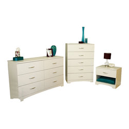 South Shore - South Shore Maddox Dresser Chest and Nightstand Set in Pure White - South Shore - Dressers - 31600103PKG