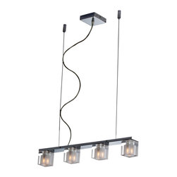 ET2 Lighting - Blocs 4-Light Linear Pendant - Light up your life and your space in a whole new way. This ceiling-mounted fixture features xenon bulb blocks on a reflective polished chrome base for in understated, elegant illumination.