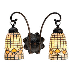 """Meyda Tiffany - 14.5""""W Tiffany Acorn 2 Lt Wall Sconce - Louis Comfort Tiffany inspired Golden Acorns dance playfully in a ring around these geometric grid patterned elongated shades in Autumn Harvest Ivory. The simply stated two light wall sconce is finished in a Warm Mahogany Bronze."""