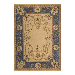 """Nourison - Nourison Ashton House AS30 9'6"""" x 13' Beige Area Rug 13703 - A statement piece for an important room! Like a fine French enameled jewel, this exceptional design presents a rich golden-beige ground surmounted by a border of scintillating blue. Delicate vines draped in sinuous symmetry frame an open center."""