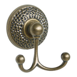 Safari Double Robe Hook - Add a small piece of style to your bathroom with the Safari Double Robe Hook. The baseplate features a hammered design that matches with other items in the Safari collection.