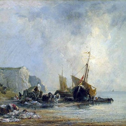 "Richard Parkes Bonington Boats near the Shore of Normandy   Print - 16"" x 24"" Richard Parkes Bonington Boats near the Shore of Normandy premium archival print reproduced to meet museum quality standards. Our museum quality archival prints are produced using high-precision print technology for a more accurate reproduction printed on high quality, heavyweight matte presentation paper with fade-resistant, archival inks. Our progressive business model allows us to offer works of art to you at the best wholesale pricing, significantly less than art gallery prices, affordable to all. This line of artwork is produced with extra white border space (if you choose to have it framed, for your framer to work with to frame properly or utilize a larger mat and/or frame).  We present a comprehensive collection of exceptional art reproductions byRichard Parkes Bonington."