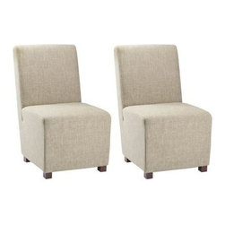 Safavieh - Bleeker Side Chair (Set Of 2) - The urban-chic angular lines of our Bleeker dining chair epitomize the understated, casual refinement of contemporary style. Fully upholstered in a blend of linen and polyester in fashionable olive beige, this exceptionally comfortable chair is accented with solid wood birch legs in cherry mahogany finish.