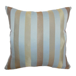 "The Pillow Collection - Olivia Stripes Pillow Tiffany Gold 18"" x 18"" - Fabulous and scene-stealing, this stripes throw pillow will surely add pizzazz and style in your space. This refreshing accent pillow is accentuated by metallic vertical stripes in gold and set against in a Tiffany blue background. This 18"" pillow suits most furniture and decor styles. Check out other stripes pillow the collection to match with this pillow. Made from 100% polyester fabric. Hidden zipper closure for easy cover removal.  Knife edge finish on all four sides.  Reversible pillow with the same fabric on the back side.  Spot cleaning suggested."