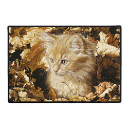 305-Amber's 1st Autumn Doormat - 100% Polyester face, permanently dye printed & fade resistant, nonskid rubber backing, durable polypropylene web trim. Use on the porch or near your back entrance to the house. Indoor and outdoor compatible rugs that stand up to heavy use and weather effects