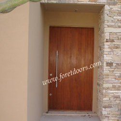 Modern contemporary entry doors - Modern solid wood front door, vertical grain and stainless steel pull