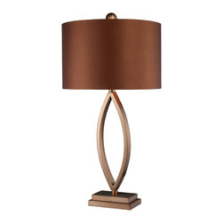 """Dimond - Dimond D1712 Transitional Table Lamp - Dale Coffee Plated Table Lamp with copper faux silk shade and slate grey faux silk liner.  The lamp measures 14""""W x 28""""H with shade measurements of 14""""W x  9""""H. The lamp uses a 150 Watt medium 3 way bulb with an on/off switch on the socket."""