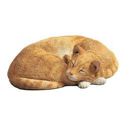 Sandicast - Sandicast Life Size Orange Cat Sculpture - LS762 - Shop for Sculptures Statues and Figurines from Hayneedle.com! So life-like you'll feel like you can snuggle up to your Sandicast Life Size Orange Cat Sculpture. This little friend will warm your home brighten a corner and bring smiles to guests they may even think you have a new pet!About Artist Sandra Brue and SandicastBased in San Diego artist Sandra Brue has been creating art for 25 years. Her hand-cast hand-painted pieces are beloved for their stunning lifelike qualities. Sandra founded Sandicast in 1981 in San Diego; in 2005 the Neufeld family acquired Sandicast in order to allow Sandra more time to devote to philanthropic endeavors. The company is still a proud vendor of Sandra Brue's sculptures.How to care for your Sandicast Statues:Regularly dust Sandicast statues with a dry soft toothbrush in order to keep them looking their best. To wash them moisten a terry towel and gently wipe them down. You may use soap on white areas but make sure not to use soap on any painted areas as this could damage your sculpture. To avoid maximum wear and tear don't expose your statues to harsh elements. A few precautions and you'll enjoy your sculpture for years to come.