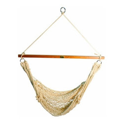 Algoma Hanging Cotton Rope Chair - Whether you want to sit up or lay way back, the amazing design of the Algoma Hanging Cotton Rope Chair will conform to your needs. The 100% cotton net will cradle your whole body allowing hours of comfort and the Indonesian hardwood spreader bar will withstand the rigors of use for many years to come.