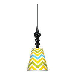 "Giclee Gallery - Citrus Zig Zag Giclee 7 1/2"" Wide Black Mini Pendant - Turn heads with the intriguing mix of design elements in this bold, bright mini-pendant chandelier. This mini pendant design is a balance of curves and geometric simplicity. It features a metal shade wrapped with an exclusive giclee printed pattern. The interior of the shade is painted white helping to reflect the light. A black finish round metal canopy completes the look. Includes a black 15 foot cord allowing you to adjust the hang height. U.S. Patent # 7,347,593."