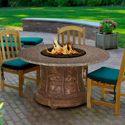 California Outdoor Concepts - Palm Fire Pit Dining Table - Picture roasting marshmallows or hot dogs right at the dining table.  Now you can with these great fire pit tables.  They are made specifically for those who like to get create outdoors and make food right in their dinner seat.