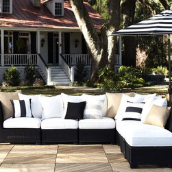 Palmetto All-Weather Wicker Sectional, Black - I love a dash of bold living outside. It brightens up nature with its striking contrast.