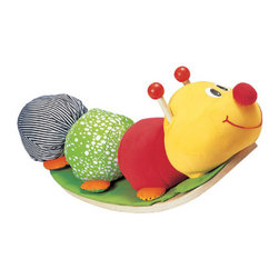 Rocking Caterpillar by Wonderworld - Winner of the Good Toy Award, this ecofriendly caterpillar sits on a textured rubberwood rocker base. He can be removed from the base to be a soft toy or a comfortable cushion. There's even a rattle inside his nose.