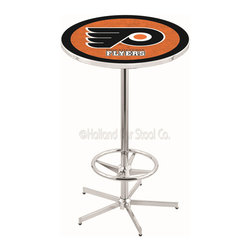 Holland Bar Stool - Holland Bar Stool L216 - 42 Inch Chrome Philadelphia Flyers Pub Table - L216 - 42 Inch Chrome Philadelphia Flyers Pub Table  belongs to NHL Collection by Holland Bar Stool Made for the ultimate sports fan, impress your buddies with this knockout from Holland Bar Stool. This L216 Philadelphia Flyers table with retro inspried base provides a quality piece to for your Man Cave. You can't find a higher quality logo table on the market. The plating grade steel used to build the frame ensures it will withstand the abuse of the rowdiest of friends for years to come. The structure is triple chrome plated to ensure a rich, sleek, long lasting finish. If you're finishing your bar or game room, do it right with a table from Holland Bar Stool.  Pub Table (1)