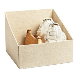 The Container Store Handbag Storage Bin - A linen handbag organizer will keep all your options viewable when deciding on which to pair with your outfit.