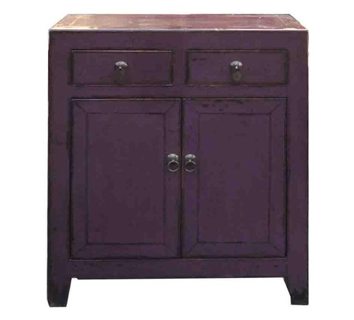 Golden Lotus - Chinese Purple Lacquer Side Storage Cabinet Table - This side cabinet is lacquered with modern purple color with rustic finish. It is good as an entrance table, small storage at the dining room or accent piece in the living room.