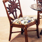 Hospitality Rattan - Cancun Palm Indoor Rattan & Wicker Side Chair - Fabric: Alamosa SpiceThis product is warranted for indoor use. Made of Rattan Poles and Woven Wicker. Traditional Indoor Wicker & Rattan Side chair. Includes cushion with choice of fabric in a variety of colors and patterns. Herringbone wicker weave. Pictured in Antique and fabrics. Fully assembled. 20 in. W x 23 in. D x 38 in. H (13 lbs.)This Cancun Palm dining collection is one of our exclusive and largest collections of fine rattan and herringbone wicker weaving. That has a fiber palm tree castings design. The woven leather bindings used throughout Cancun Palm ensures its durability and quality for many years of use. It enhances the tropical look in any dining room. The selection of two finishes help compliment any room decor. In addition your choice of over 45 fabrics is available on the Cancun Palm Collection.