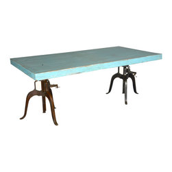 Sierra Living Concepts - Blue Industrial Factory Iron & Wood Double Crank Pedestal Dining Table - Define your space on your own terms with our Modern Blue Industrial Iron & Wood Double Crank Pedestal Dining Table. Your eyes are first drawn to the distressed blue table top made of solid mango wood, a tropical hard wood grown as a sustainable crop.